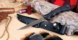 RADA CUTLERY R210 SPORTSMAN KNIFE WITH LEATHER SCABBARD FILE
